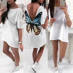 High-Low Hem Butterfly V Back T-shirt Couture Fashion, Diy Fashion, Love Fashion, Fashion Outfits, Womens Fashion, Fashion Design, Butterfly Fashion, Painted Clothes, Clothes Crafts