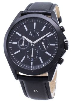 Features: Stainless Steel Case Leather Strap Quartz Movement Mineral Crystal Black Dial Analog Display Chronograph Function Date Display Screw Down Crown Solid Case Back Buckle Clasp Water Resistance Approximate Case Diameter: Approximate Case Thickness: Armani Watches For Men, Popular Watches, Luxury Watch Brands, Nato Strap, Online Watch Store, Vand, Watch Model, Black Rubber, Watch Sale