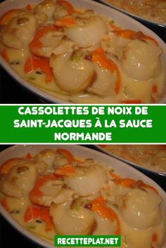 Cassolettes of scallops in Normandy sauce Fish Recipes, Meat Recipes, Seafood Recipes, Healthy Recipes, Marmite, How To Cook Fish, Tasty, Yummy Food, Fish And Seafood