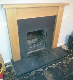 Oak Fire Surround With Slate Hearth & Slips in Home, Furniture & DIY, Fireplaces & Accessories, Mantelpieces & Surrounds | eBay