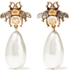 Gucci - Gold-plated, Crystal And Faux Pearl Earrings