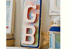 Monogram Paddle Wall Plaque with Map Papers - a great DIY for Father's Day.
