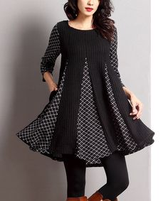 Another great find on #zulily! Black Mixed Media-Inset Swing Tunic by Reborn Collection #zulilyfinds