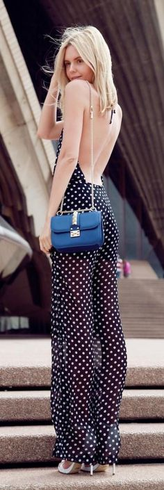 Polka Dot Jumpsuit Street Style Look Look Fashion, High Fashion, Womens Fashion, Fashion Trends, Net Fashion, Funky Fashion, Latest Fashion, Fashion Outfits, Street Chic