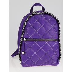 Pre-owned Stella McCartney Purple Quilted Faux Leather Falabella Mini... ($595) ❤ liked on Polyvore featuring bags, backpacks, vegan bags, quilted bag, quilted faux leather backpack, stella mccartney bag and faux leather backpack