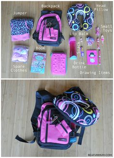 What to take in a kids backpack for plane travel