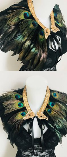 Black, natural Peacock hand crafted feather wings/epaulettes $98 with embellishment and gold trim. The epaulettes have been trimmed with gold sequin elastic. Mad Max meets Moulin Rouge! Pecock feather festival epaulettes, festival feather wings, feather s https://madburner.com
