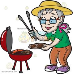 An Elderly Woman Barbecuing Patties And Sausages :  An old woman with ponytailed gray hair wearing orange eyeglasses yellow hat green shirt orange pants purple with white rubber shoes stands in front of a round red griller cooking sausage and steak smirks while getting the cooked steak using the gray thongs in her right hand that she places on the light brown plate in her left hand  The post An Elderly Woman Barbecuing Patties And Sausages appeared first on VectorToons.com.   #clipart…