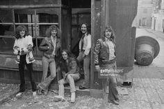 British rock group Uriah Heep, 1974. Left to right: bassist Gary Thain (1948 - 1975), singer David Byron (1947 - 1985), guitarist Ken Hensley, guitarist Mick Box and drummer Lee Kerslake.