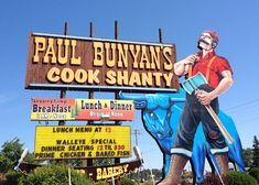 Vintage Wisconsin Sign | Camp Breakfast at Paul Bunyan's Cook Shanty in Minocqua, WI | The ...