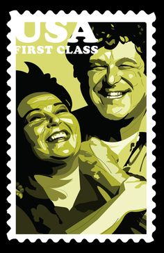 USA First Class.  Dan and Roseanne Conner vector illustration.
