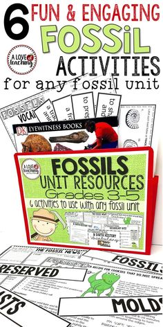Fossil Unit Resources & Activities for Students: perfect addition to any fossil unit. Six different fun and engaging fossil activities are included for students.