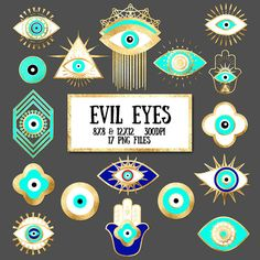 ********INSTANT DOWNLOAD ********  You will receive: 17 Turquoise & Gold Foil Evil Eye Clip Art high quality 300 DPI 8 x 8 (2400x2400) & 12 x 12 (3600 x 3600) PNG transparent background files in ZIP folders  Note: instant download via Etsy, you can access your file any time on your Purchases page. After youve made a purchase, you will see a link on the Downloads page. Details are here - http://www.etsy.com/help/article/3949…