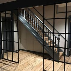The Crittall style window is so desirable at the moment, both externally and internally. It's also a perfect way to divide up space and bring light into a room like Crittall Windows, Crittal Doors, Victorian House Interiors, Victorian Homes, Glass Walls, Glass Doors, Floor To Ceiling Windows, Windows And Doors, External Staircase