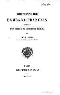 dictionnaire bambara français