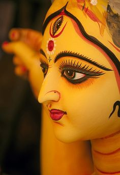 Clay Idol of Devi Durga (Hindu goddess) made by the artisan of Kumortuli, Kolkata, West Bengal,India. Maa Durga Image, Durga Maa, Shiva Shakti, Lord Durga, Durga Picture, Durga Painting, Kali Mata, Durga Images, Indian Photoshoot