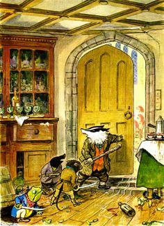 1931. Ernest H. Shephard, illustrator (color plates and black&white drawings). Charles Scribner's Sons, publisher. Kenneth Grahame Society