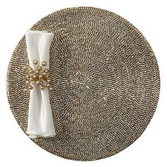 Create a dazzling tablescape this season with a Metallic Studded Placemat as your backdrop.