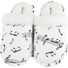 Warm and fuzzy,Leisureland's music note fashion slippers are made from 100-percent cotton. These slippers feature a cotton flannel upper,furry faux-shearling l…