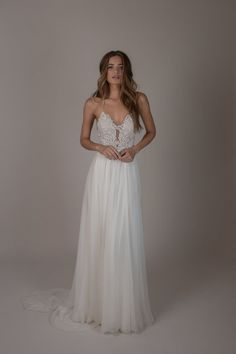 Whitman by Sarah Seven available at THE BRIDAL ATELIER www.thebridalatelier.com.au || Modern nude & white lace bodice wedding dress with thin shoestring straps with low criss-cross tie back & floaty soft romantic skirt #sheisthebridalatelierbride With Love, TBA xo.