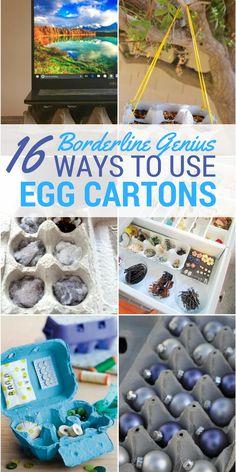 16 Borderline Genius Ways to Use Egg Cartons. Reduce, reuse, recycle. Best tips to recycle egg cartons.