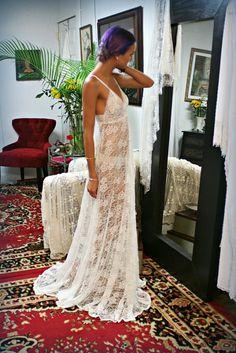 Sheer Lace Bridal Lingerie Nightgown Sleepwear por SarafinaDreams