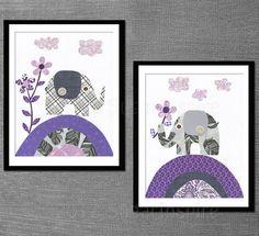 Neutral colors  nursery art print set,  Baby / Children Wall Art - elephant, baby elephant, purple and gray on Etsy, $27.95