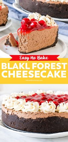 Cherry And Chocolate Cheesecake, Black Forest Cheesecake, Chocolate Flavors, No Bake Cheesecake Filling, Cheesecake Recipes, Pie Recipes, No Bake Desserts, Easy Desserts, Easy Baking Recipes