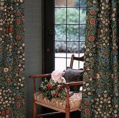 William Morris Curtains Blackthorn 90 drop 52 by TheMorrisRoom Metal Room Divider, Room Divider Headboard, Small Room Divider, Bamboo Room Divider, Room Divider Walls, Fabric Room Dividers, Folding Room Dividers, Inspiration Room, Temporary Room Dividers