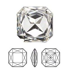 Embellishment, Swarovski crystal rhinestone, crystal clear, foil back, faceted square fancy stone Sold per pkg of Crystal Rhinestone, Swarovski Crystals, Metal Clay, Stone Beads, Geometric Shapes, Jewelry Sets, Embellishments, Jewelery, Jewelry Design