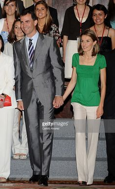 Prince Felipe of Spain and Princess Letizia receive in audience Granted In 'Becas Europa' on July 08, 2008 at the Zarzuela PAlace in Madrid