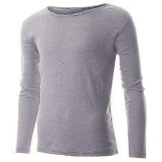 #FLATSEVEN Mens Casual Small Striped Crewneck Long Sleeve Tee Shirt (TRL1001) FLATSEVENSHOP.COM