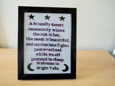 Welcome to Night Vale framed cross stitch