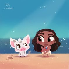"Inspired by the teaser posters, the first trailer and the presentation at Annecy festival which I attended with directors Ron Clements and John Musker, here's a fanart of ""Moana"" the next Disney for the end of the year which promises to be a very. Kawaii Disney, Chibi Disney, Cute Disney, Walt Disney Animation, Disney Pixar, Disney E Dreamworks, Disney Characters, Moana Disney, Disney Princesses"