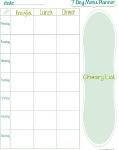 weekly meal planner with day of the week {editable too}