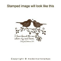 Wedding Rubber Stamp - Wedding Stamp - Bible Verses about Love - I have found the one whom my soul loves - Birds in love - A87 - BIG SIZE. $16.00, via Etsy.