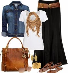 Cute collection of outfits denim jacket and maxi skirt