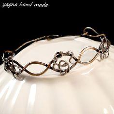 Bronze  silver bangle bracelet. Metalwork by YagnaWireJewelry