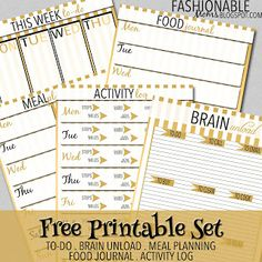 Free Printable Set: To-Do, Food Journal, Meal Plan, Activity Log, Brain Unload