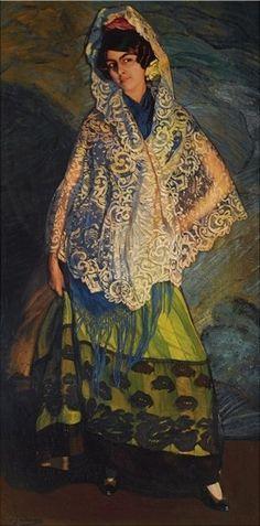 Ignacio Zuloaga - LA MORENA, CON chal blanco, 1913