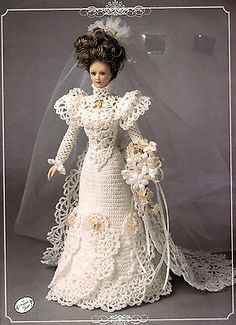 Annie's Attic Pattern Book by Annie Potter CROCHET 1900 DOLL BRIDAL GOWN 7104