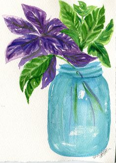 Herbs in Aqua canning jar watercolor  Basil by SharonFosterArt, $18.00