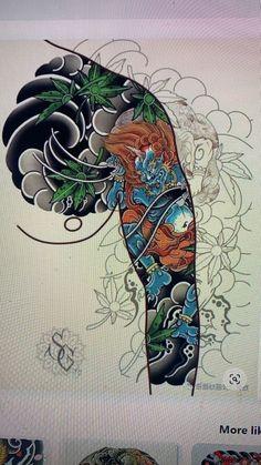 Foo Dog Tattoo, Arm Tattoo, Dragon Tattoo Temporary, Japan Tattoo, Japanese Tattoo Designs, Chinese Design, Irezumi, Japanese Art, Thunder