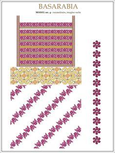 Semne Cusute: iie din BASARABIA - model (4) Folk Embroidery, Cross Stitch Embroidery, Embroidery Patterns, Cross Stitch Designs, Cross Stitch Patterns, Wedding Album Design, Beading Patterns, Pixel Art, Needlework