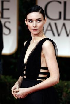 Rooney Mara in one of her monochromatic looks inspired by the Lisbeth Salander character |15 Gothic Red Carpet Looks #hair #style
