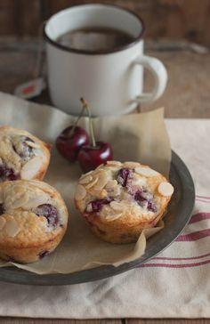Sweet Country Life ~ Simple Pleasures ~ Baking Day ~ Almond Cherry Muffins. Made with Tart cherries instead, very good.