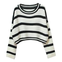 Chicnova Fashion Black White Stripes Loose Fit Crop Top (355 UYU) ❤ liked on Polyvore featuring tops, sweaters, shirts, crop top, crochet sweaters, loose shirt, cropped sweaters, pullover sweater and pullover shirt