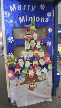 """Merry Minions"" holiday classroom door. Have students make own minions for each season or month"