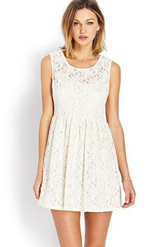 A fit & flare dress featuring a floral crochet overlay. Invisible side zipper with hook-eye closure. Forever21, Pretty Dresses, Lace Dresses, Get Dressed, Boho, Dress To Impress, Spring Outfits, Dress Up, Flare Dress
