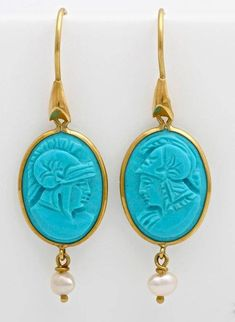 Vintage Carved Turquoise and Gold Drop Earrings, Dangle Earrings, Greek Mythology, Gift for Her by TheVintageLions on Etsy Gold Drop Earrings, Dangle Earrings, Pendant Necklace, Greek Warrior, Greek Jewelry, Greek Mythology, Gold Hoops, Ear Piercings, Turquoise Necklace